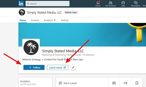 LinkedIn Company Page Buttons