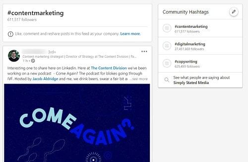 LinkedIn Hashtags Example