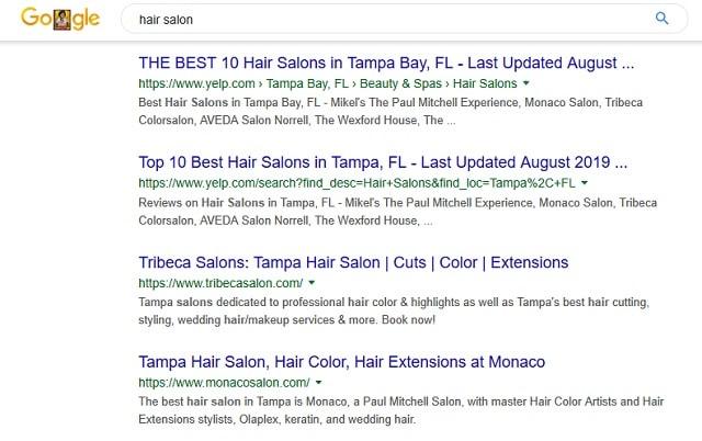 Local SEO Google Hair Salon Search Results