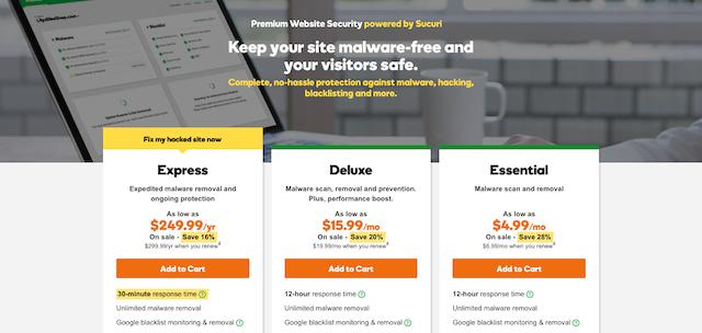 Sucuri screenshot for malware protection