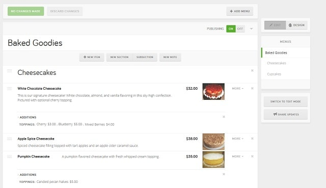 Manage Your Online Menu Options