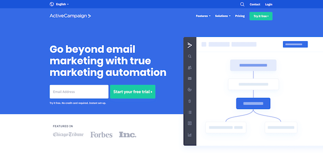 Marketing Automation Platform ActiveCampaign Homepage