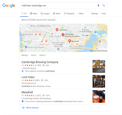 Meadhall Google My Business Listing