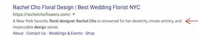 Meta Description Tag Example Rachel Cho Floral Design Search Result