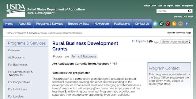 Minority Small-Business Grants Rural