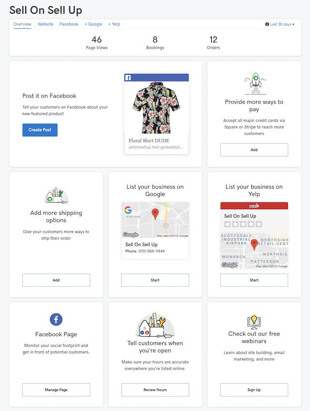 screenshot of GoCentral Website Builder Dashboard