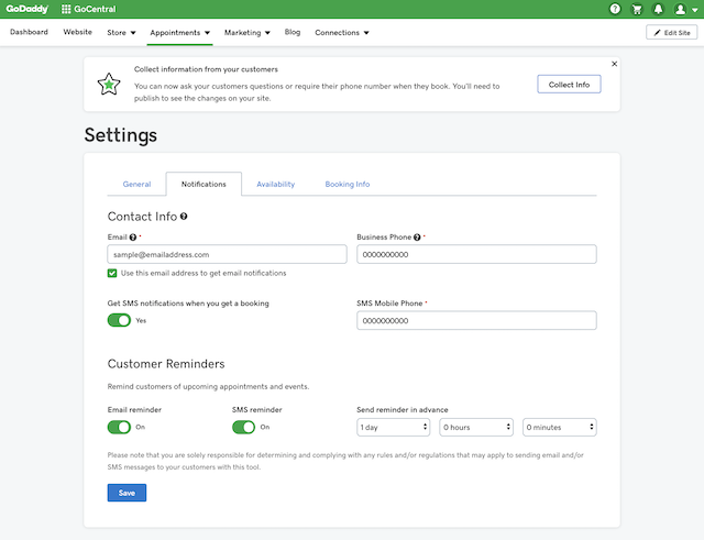 screenshot of notification settings in GoCentral Website Builder Online Appointments