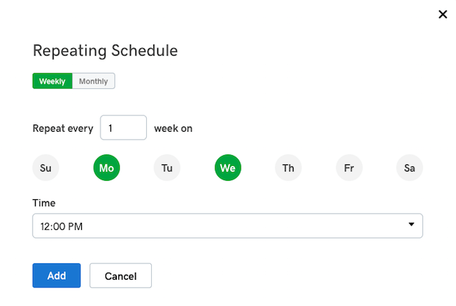 Online Appointment Scheduling Repeating