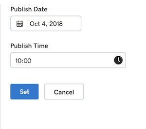 screenshot of UX to adjust post date