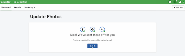 screenshot of the confirmation screen after using GoDaddy Website Builder social media - image integration