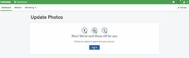 screenshot of the confirmation screen after using GoDaddy Website Builder social media - image integration
