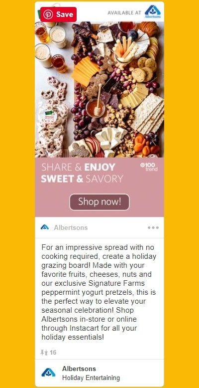Albertsons Pinterest Promoted Pin Example