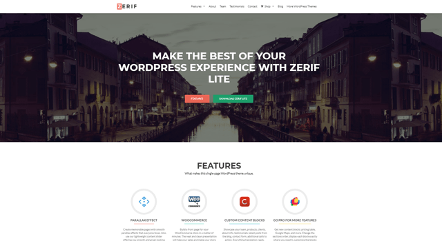 Popular WordPress Plugins Zerif Lite