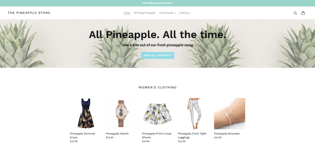 Premium Domain Pineapple Store Homepage