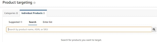Product Targeting Individual Products Search