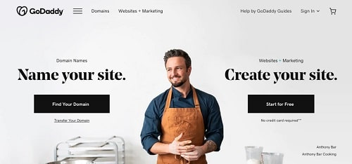 Product Tracks on GoDaddy Homepage
