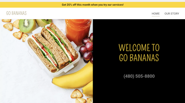 screenshot of promotional banner on GoDaddy GoCentral website