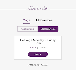 screenshot of recurring yoga class on website