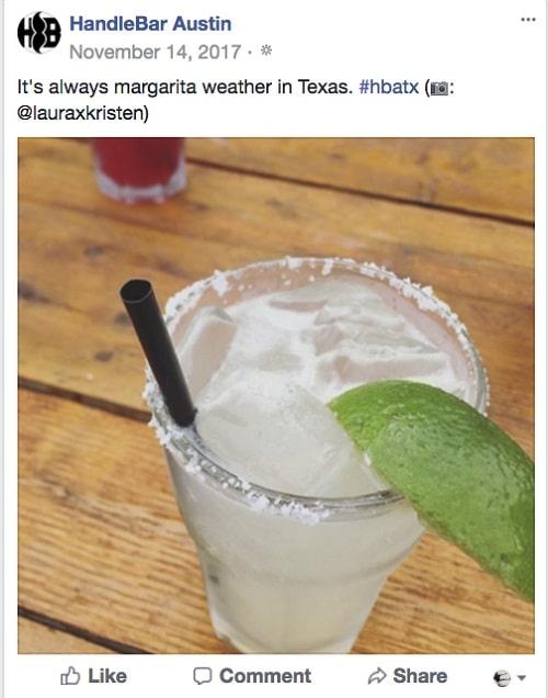 Restaurant Facebook Page HandleBar Austin