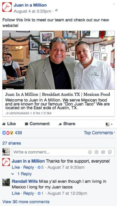 Restaurant Facebook Page Juan in a Million