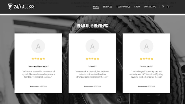 screenshot of GoCentral site with reviews