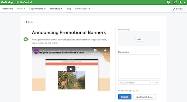 example of adding a video to a blog post in GoDaddy Website Builder