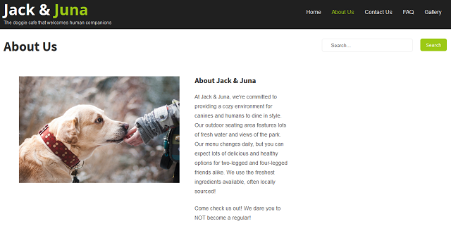 Screenshot Of WordPress Page For An Imaginary Dog Cafe