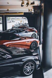 Row Of Cars In Dealership Window