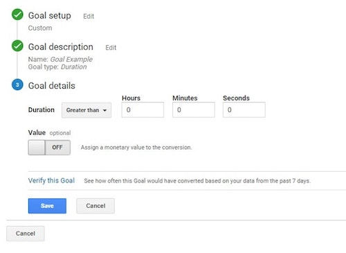Set Up Duration Goal in Google Analytics