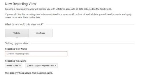 Set Up New Reporting View Google Analytics