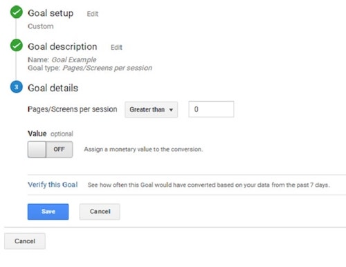 Set Up Pages Goal in Google Analytics