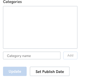 screenshot of UX to add publish date in GoCentral blog