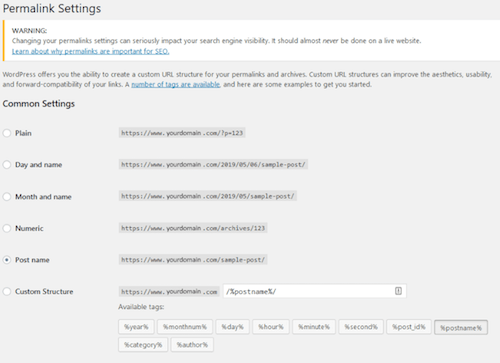 Setting Up WordPress Permalinks