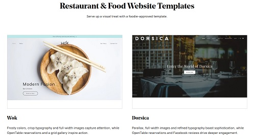 GoDaddy Website Builder Food Template Page