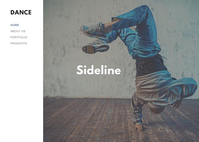 screenshot of the Sideline theme in GoDaddy Website Builder