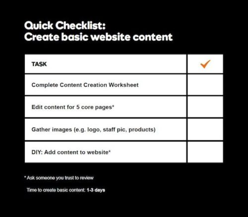 Small Business Online Checklist Create Content