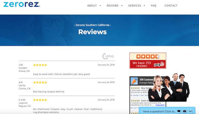 Small Business Website Features Zerorez