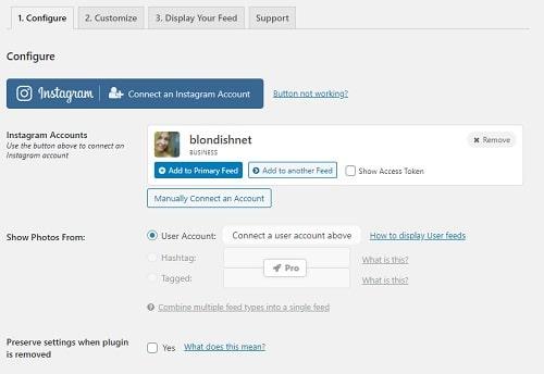 Smash Balloon Social Photo Feed Configure Plugin