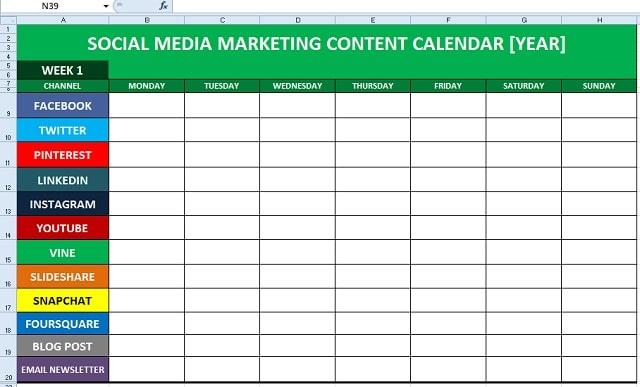 Social Media Content Calendar Example