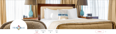 Social media management for hotels Hotel Blue on Twitter