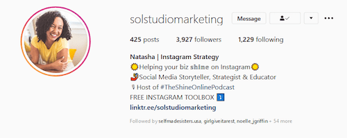Sol Studio Marketing Instagram Bio Link Example
