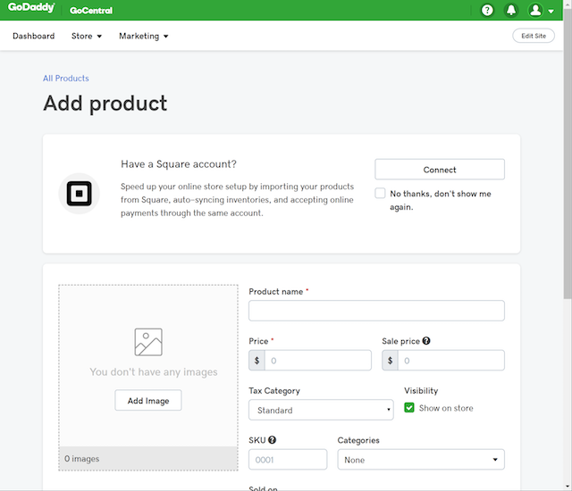 screenshot of setting up Square catalog sync in GoCentral Online Store