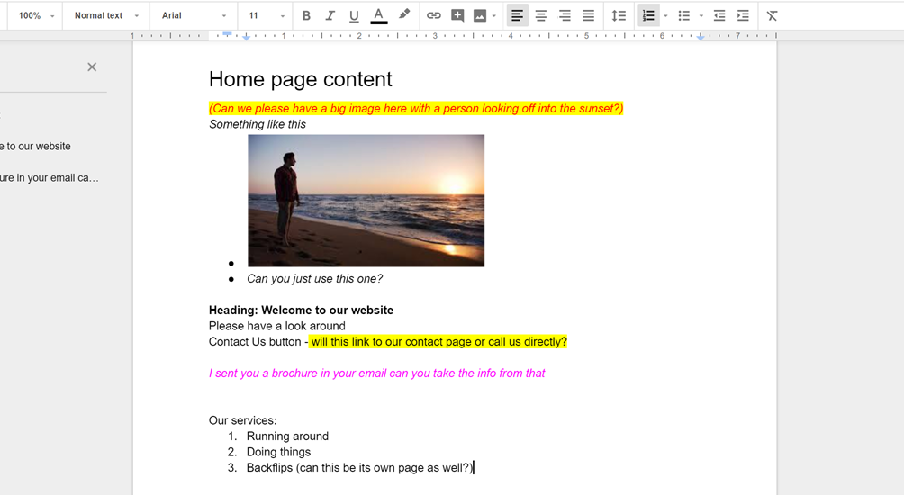 Example of site content in Google Docs
