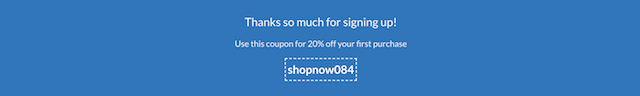 screenshot of subscribe confirmation showing coupon code