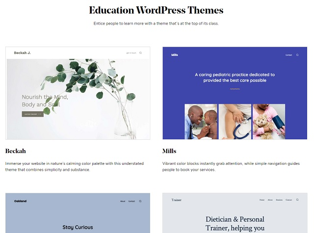 GoDaddy WordPress Educational Templates