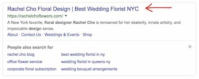 Title Tag Example Rachel Cho Floral Design Search Results