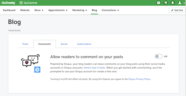 screenshot of how to turn on blog comments in GoCentral Website Builder