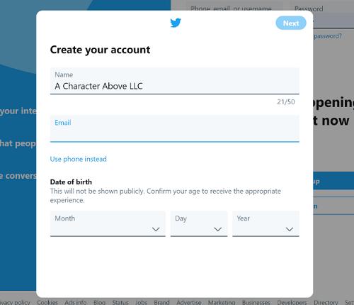 Twitter Account Creation Screen