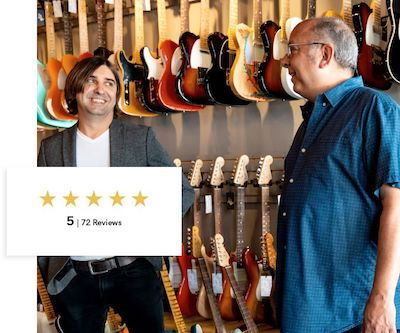 Two Men in Front of Guitars with Example of a 5 Star Review