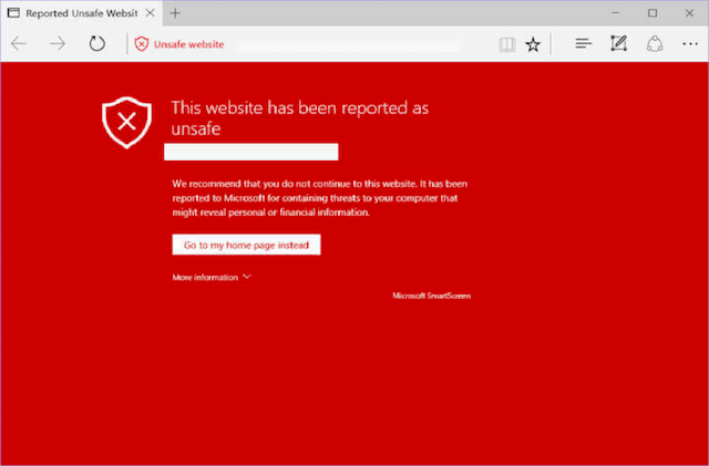 Unsafe Website Warning